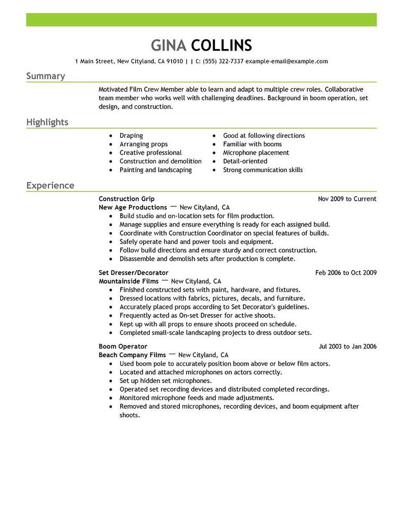 Media Production Resume Sample