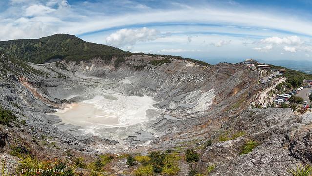 Nature and Civilization. Kawah Ratu. (135 deg panoramic view)