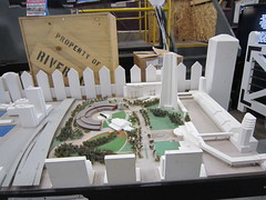 This design model of the railway lands in Toronto presents a strange image of the CN Tower