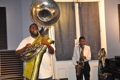 Bennie Pete and Clarence Slaughter of Hot 8 Brass Band. Photo by Kichea S Burt.