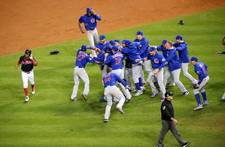 The Cubs celebrate after winning the 2016 World Series. | by apardavila