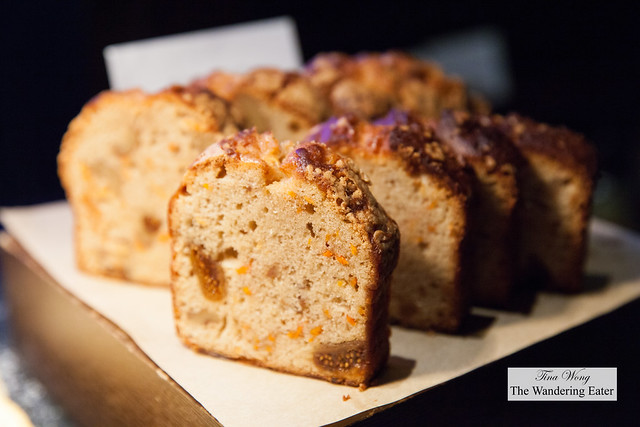 Fresh baked carrot cake with dried figs