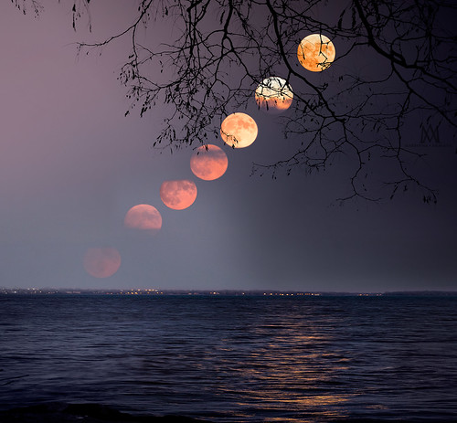 supermoon full moon rising composite montreal stlawrence river light night sunset mariannaarmata quebec canada f64g79r5win