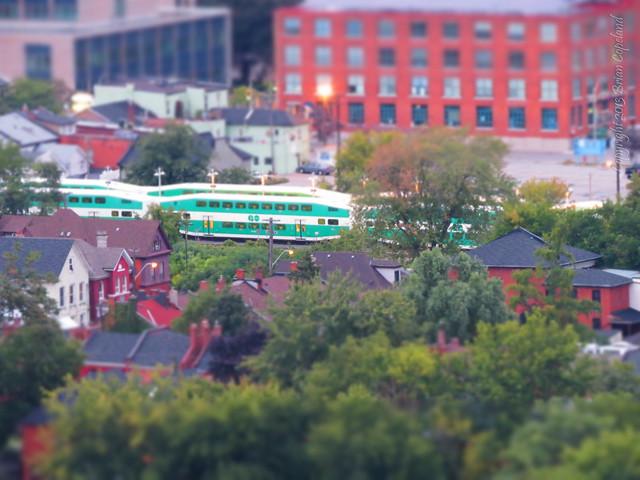 GO Train going through Hamilton
