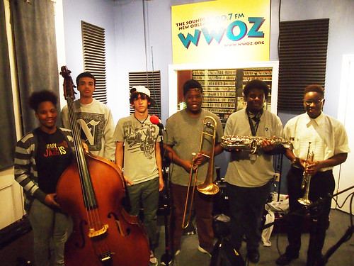 Ariyan Brister (bass), Alphonse Waples (drums), Victor Flint (piano), Jeffery Miller (trombone), Brandon Shelton (sax), and Keith Hart (trumpet): NOJO Student Ambassadors at WWOZ for Cuttin' Class.