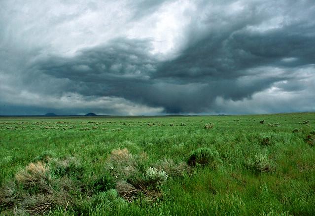 Small thunderstorm on the Snake River plain near Arco, Idaho