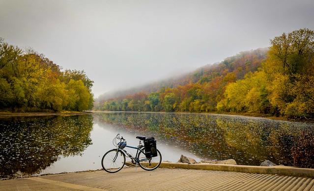 Potomac River: fog lifting on a fall morning