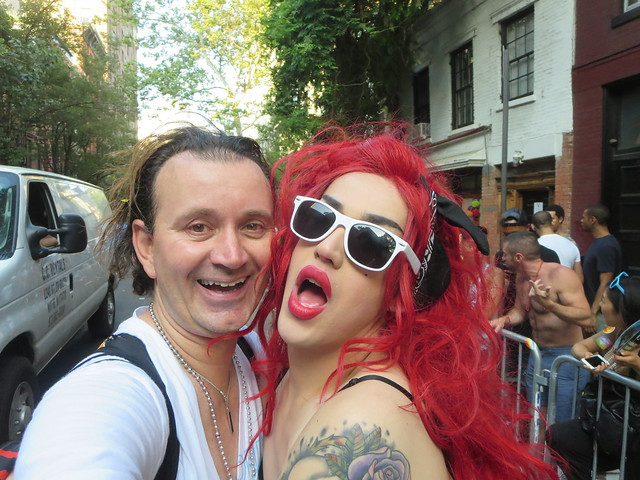Ryan Janek Wolowski, Adore Delano (Danny Noriega) walking on Christopher Street with the Logo TV float in the New York City Heritage of Pride Parade