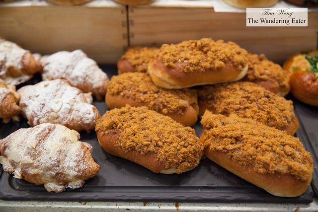 Almond croissants and pork floss buns