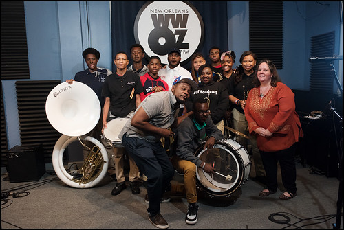 Abramson Sci Academy at WWOZ with Derrick Freeman and Leslie Cooper. Photo by Ryan Hodgson-Rigsbee www.rhrphoto.com