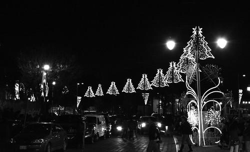Iluminación de la Ciudad de Puebla en el Barrio de Analco.