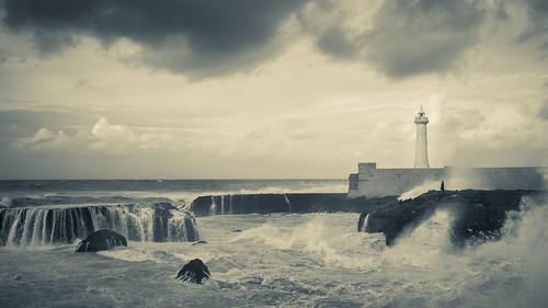 Rabat Lighthouse - bw | by aminefassi