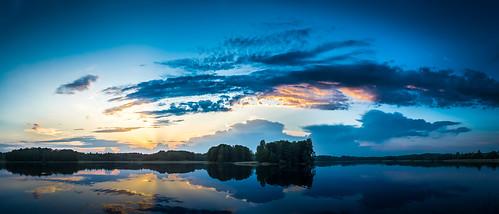 sunset panorama lake water beautiful mirror evening nikon cloudy latvia latvija d600 latgale ludza zvirgzdenesezers
