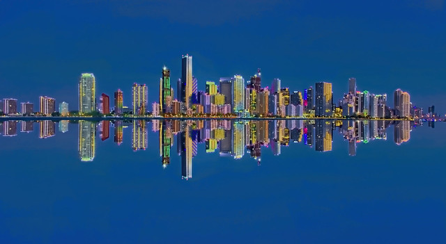 Reflections from the Miami, Florida, USA skyline / The Magic City