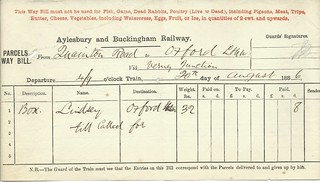 Aylesbury and Buckingham Railway waybill from Quainton Road to Oxford (LNWR) 1886   by ian.dinmore