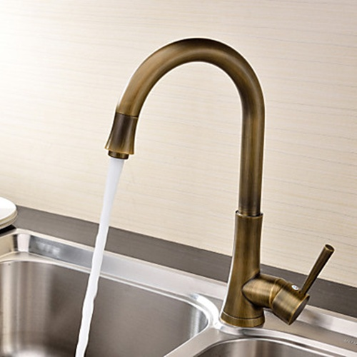 Antique Brass Finish Single Handle Deck Mounted Kitchen Faucet--FaucetSuperDeal.com | by faucetsuperdeal