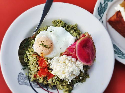 Kokuho Rose brown rice, sorrel pesto, preserved meyer lemon, lacto fermented hot sauce, watermelon radish, french sheep feta, poached egg