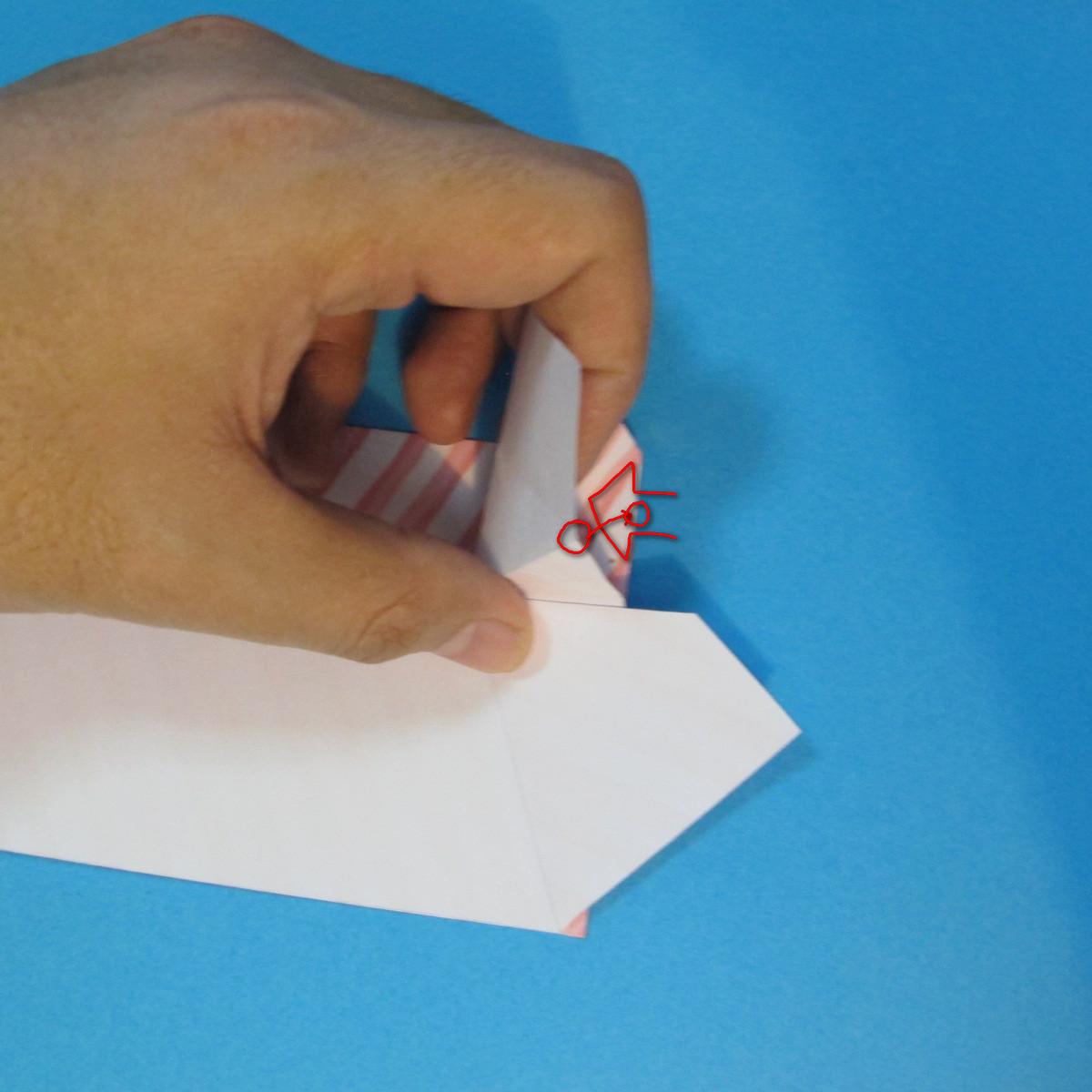 วิธีพับกล่องกระดาษรูปหัวใจส่วนฐานกล่อง 024
