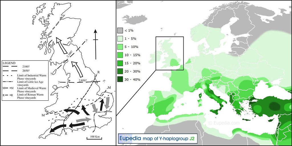Fluidr / Haplogroup J2-M172, Viticulture, Romans, Britain