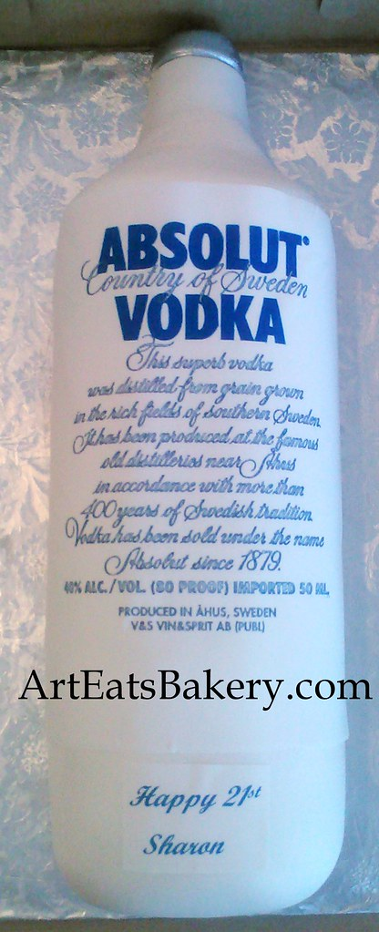 Sensational Absolut Vodka Bottle 21St Birthday Cake Design With Edible Flickr Funny Birthday Cards Online Alyptdamsfinfo