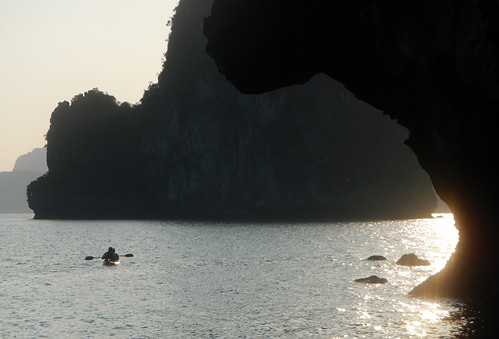 Kayaking into a Halong Bay Sunset