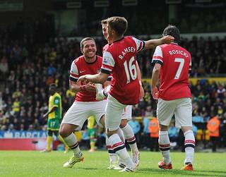 Aaron Ramsey celebrates his goal with Lukas Podolski
