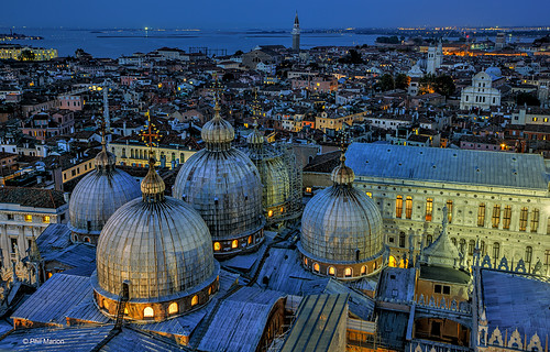 15 sec exposure of Venice after dusk [domes of Basilica di San Marco (Saint Mark's Basilica) in the foreground]- Venice, Italy | by Phil Marion (173 million views - THANKS)