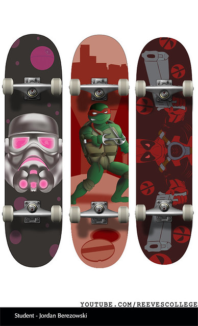 Skateboard Deck Design Adobe Illustrator CS6 by Reeves College Student Jordan B