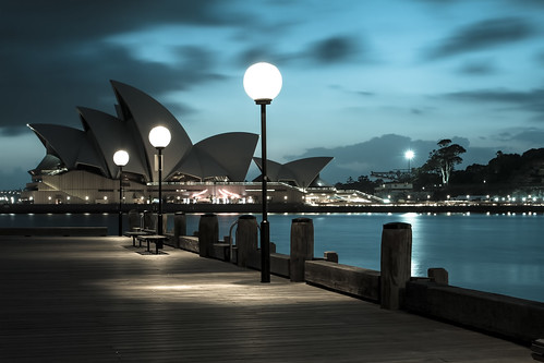 longexposure blue summer sky black reflection water clouds contrast sunrise canon lights bay pier tripod sydney australia nsw cbd sydneyoperahouse abigfave mariobekes