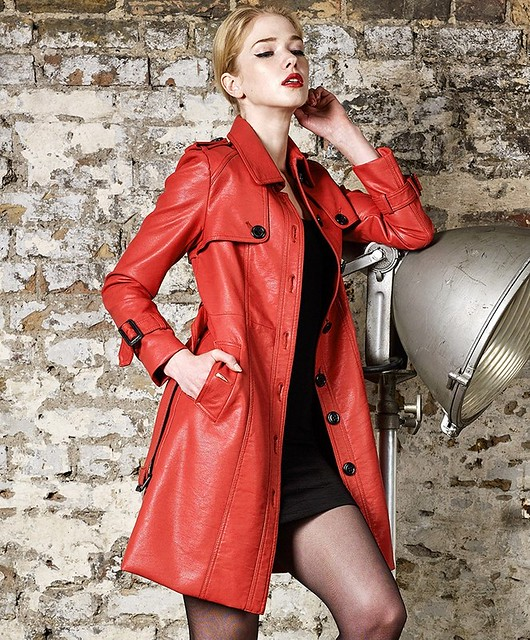 Red Faux Leather Coat