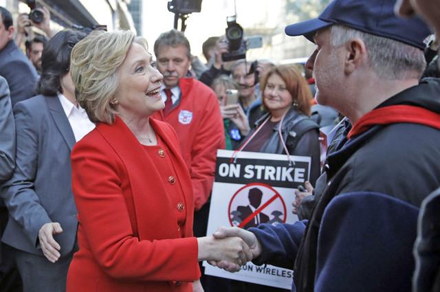 Clinton Walks Verizon Picket Line