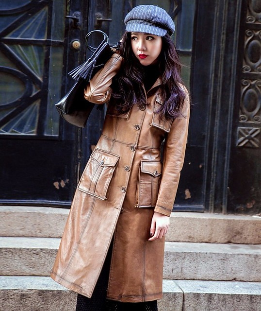 70s Style Pu Leather Trench