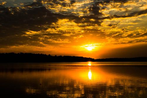 morning sunset lake sunrise unitedstates cloudy sunny arkansas fayetteville partly