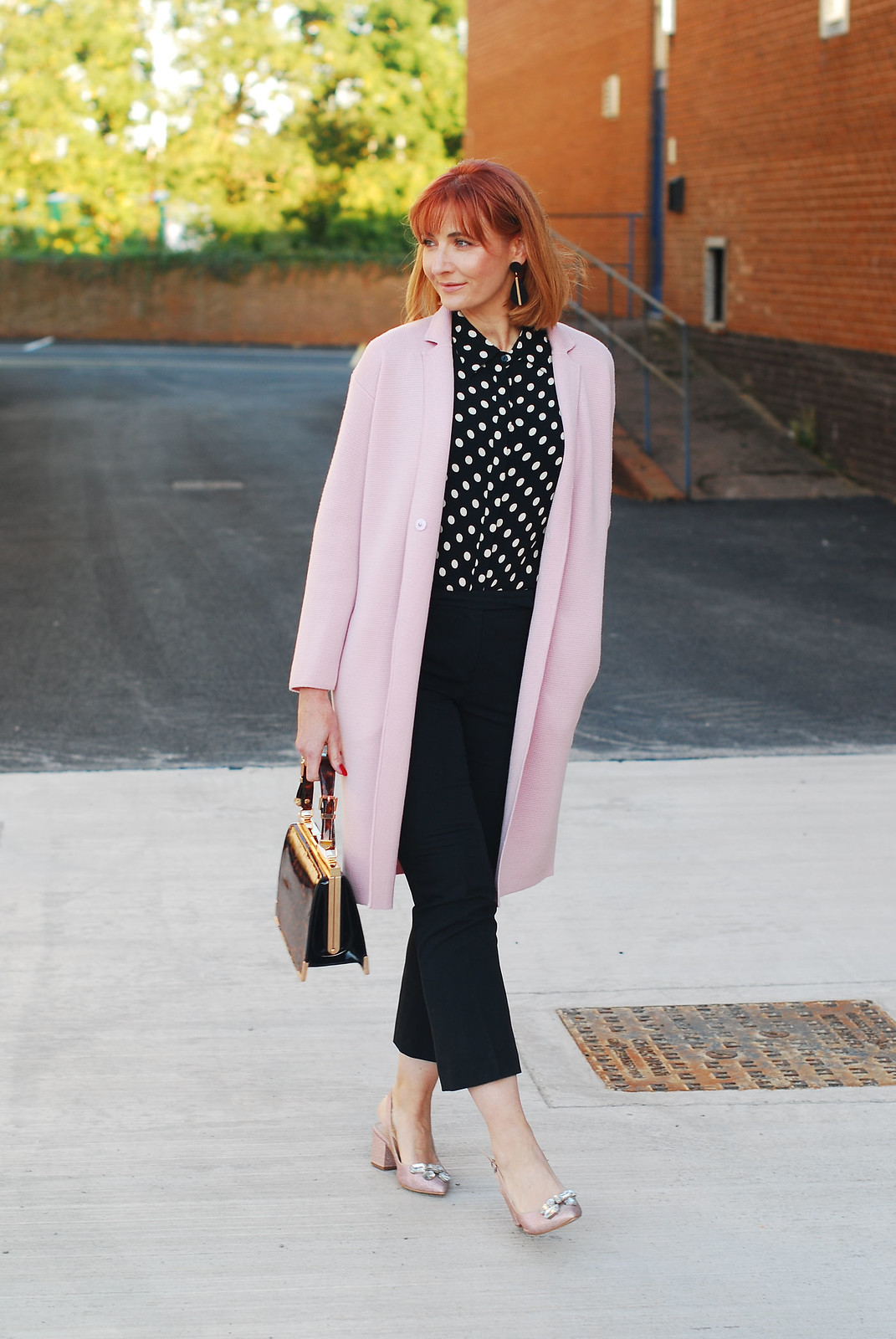 Retro 80s styling: Pink Winser coatigan and black and white polka dots, block heel pink glitter shoes   Not Dressed As Lamb, over 40 style