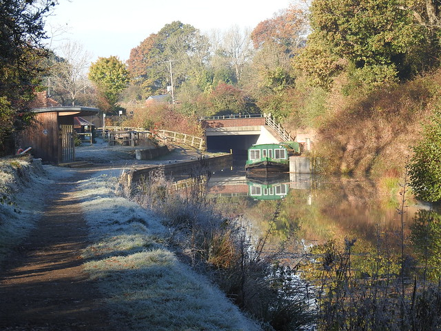 A frosty autumn morning on the Wey and Arun Canal at Loxwood.