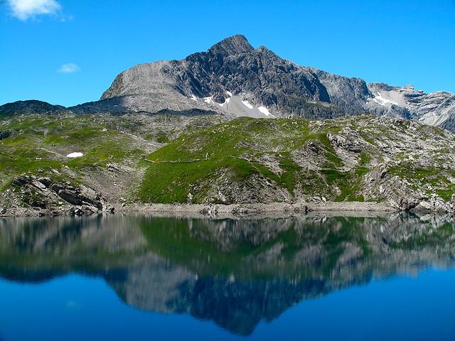 Butzensee lake and Butzenspitze in the Lechquellengebirge, Vorarlberg, Austria