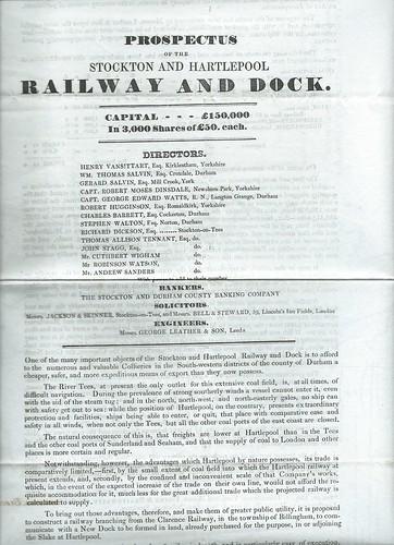 Stockton and Hartlepool Railway Prospectus 1838 | by ian.dinmore