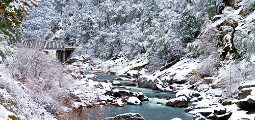 Snow Along the Feather River at Storrie