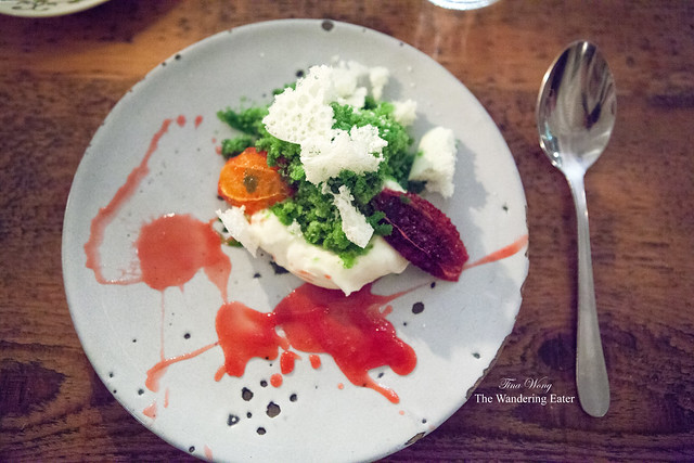 Warm blood orange, sheep's milk mousse, fennel granita
