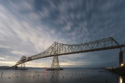 longexposure bridge west oregon mouth river washington marine northwest columbiariver astoria pacificnorthwest westcoast cantilever truss astoriameglerbridge shippingchannels