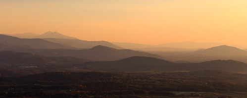 sunrise mountains orange mist fog sun virginia blue ridge smokey panorama pano horizontal layers serene