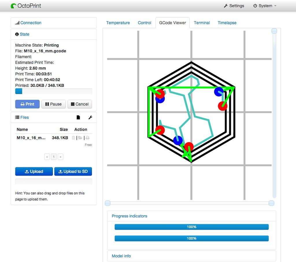 OctoPrint - 3D print server on Raspberry Pi - Screenshot v