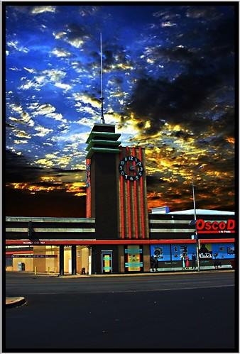 street city sunset sky tower clock st clouds mural district main historic mo uptown missouri drugs area kansas kc osco onasill