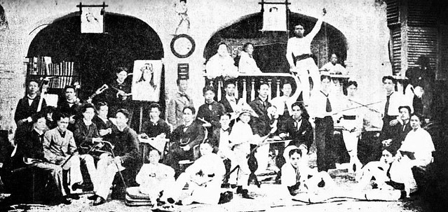 Student residents of the Casa Tomasina in 1879. Rizal is standing besides his easel.
