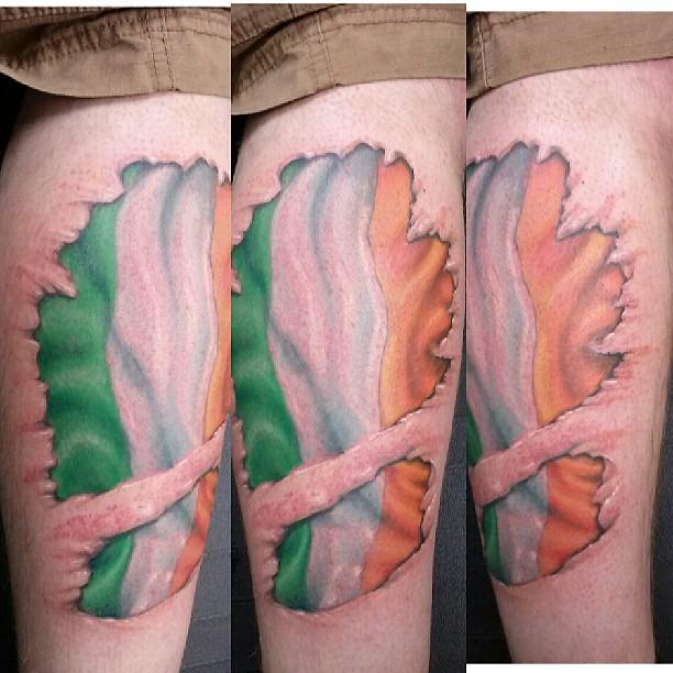 Fun Irish Flag Skin Tear Tattoo Irish Flag Skintear Flickr