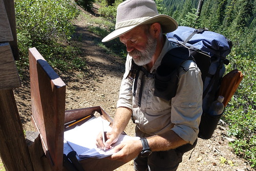 Signing the trail register, coming into Oregon | by danlmarmot