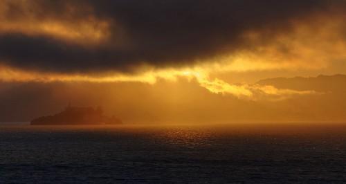 sanfrancisco california sunset red sky orange cloud water clouds island gold golden raw day cloudy shore alcatraz hdr yerbabuenaisland photomatix fav200 1xp nex6 sel55210