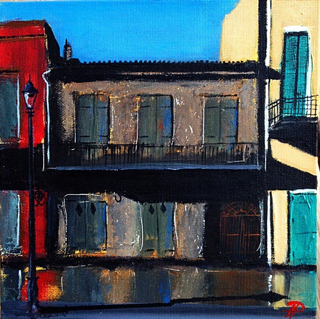 After the Rain Preservation Hall, new painting I created 8x8 Acrylic on Canvas Panel.
