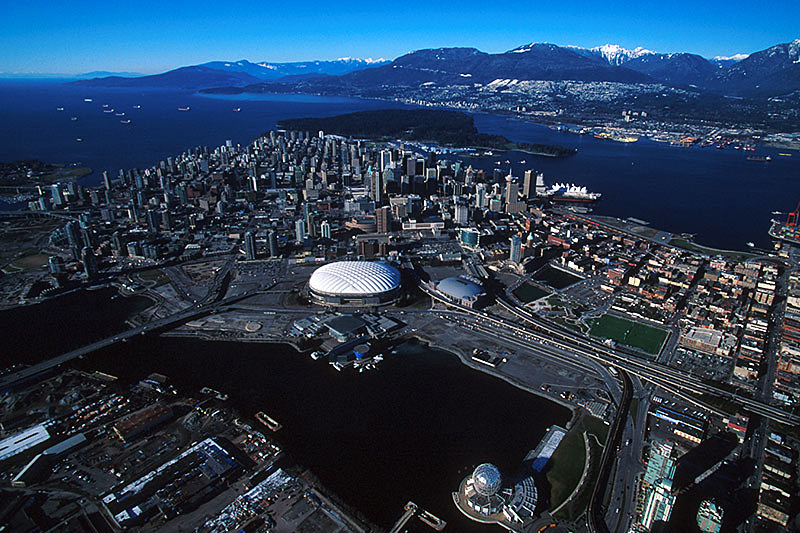 Vancouver, British Columbia, Canada, with Stanley Park visible in the background.