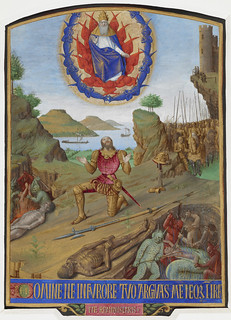 Hours of Etienne Chevalier - caption: 'David, in armour, kneeling in penitence before the Almighty with his army. In the foreground, a corpse with devils torturing souls'   by The British Library